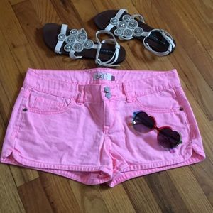 Pants - Hot pink denim shorts